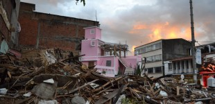 Pink villa Colombia - destroyed